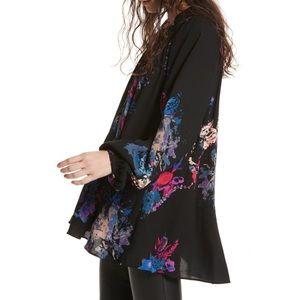 Free People Meadow Lark Floral Tunic Blouse Black